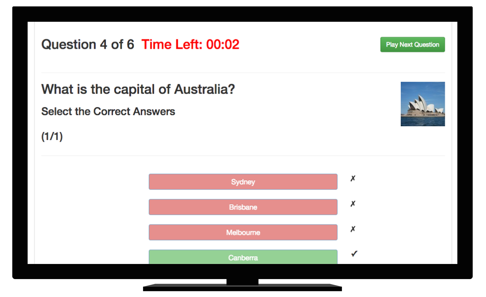 Example of playing a quiz online