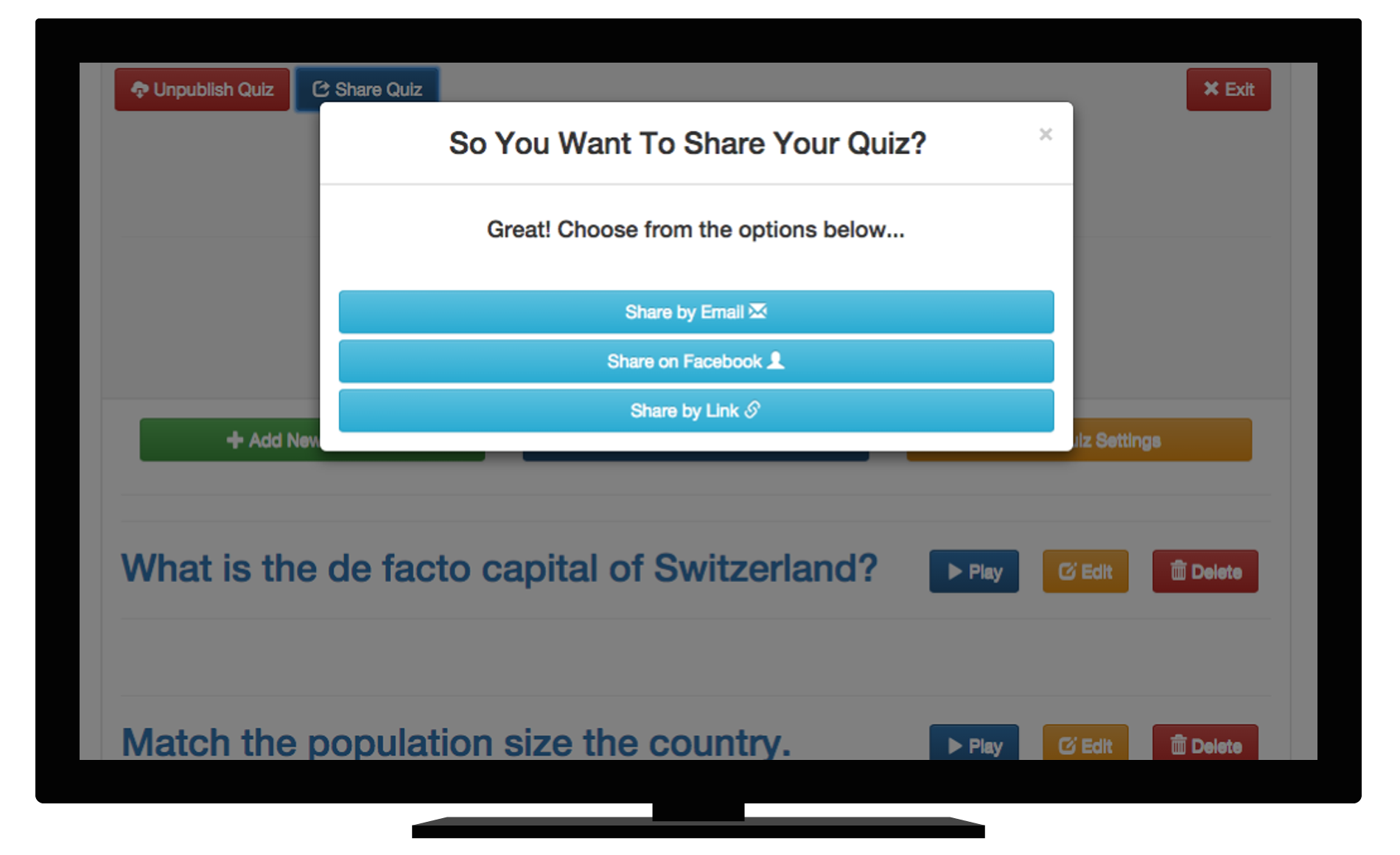 Screenshot of sharing a quiz online